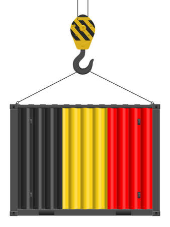 Hooked cargo container with Belgium flag on a white background. Vector illustration.