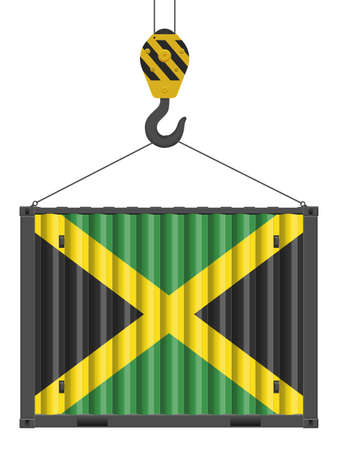 Hooked cargo container with Jamaica flag on a white background. Vector illustration. Vecteurs
