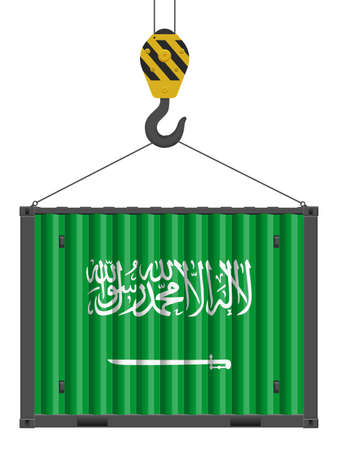 Hooked cargo container with Saudi Arabia flag on a white background. Vector illustration.