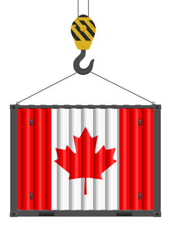 Hooked cargo container with Canada flag on a white background. Vector illustration. Vecteurs