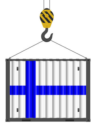 Hooked cargo container with Finland flag on a white background. Vector illustration.