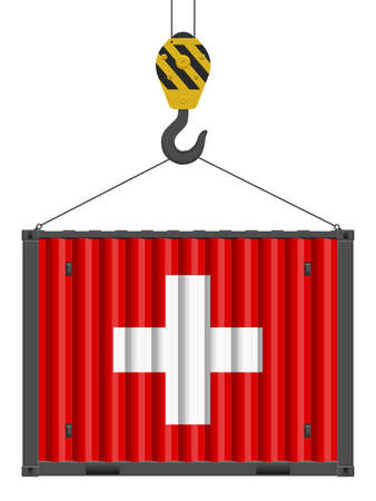 Hooked cargo container with Switzerland flag on a white background. Vector illustration. Vecteurs
