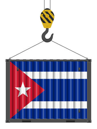 Hooked cargo container with Cuba flag on a white background. Vector illustration.