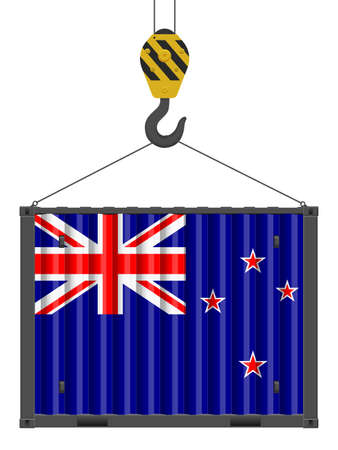 Hooked cargo container with New Zealand flag on a white background. Vector illustration.