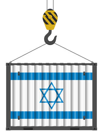 Hooked cargo container with Israel flag on a white background. Vector illustration.