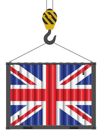 Hooked cargo container with UK flag on a white background. Vector illustration. Vecteurs