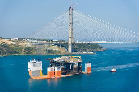 TURKEY, Bosphorus - APRIL 07, 2016: Mobile Drilling Rig floats along the Bosphorus 9