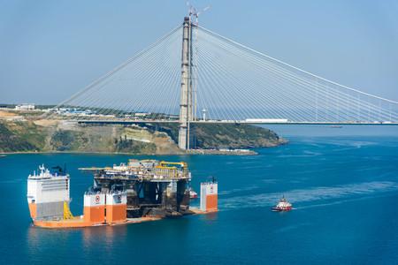 TURKEY, Bosphorus - APRIL 07, 2016: Mobile Drilling Rig floats along the Bosphorus 8 Editorial