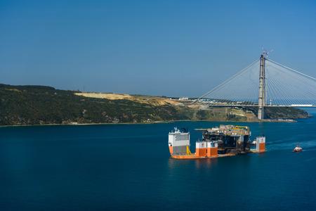 TURKEY, Bosphorus - APRIL 07, 2016: Mobile Drilling Rig floats along the Bosphorus 7 Editorial