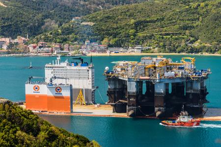 TURKEY, Bosphorus - APRIL 07, 2016: Mobile Drilling Rig floats along the Bosphorus 2