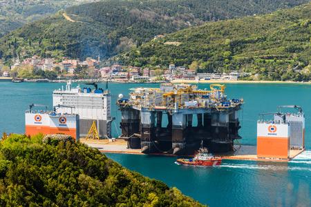 TURKEY, Bosphorus - APRIL 07, 2016: Mobile Drilling Rig floats along the Bosphorus 1