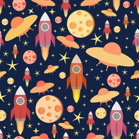 Cosmic seamless pattern.Colorful print.Textile texture
