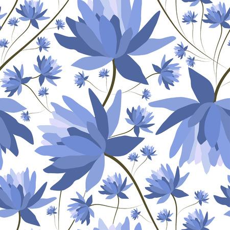 textile texture: Floral patten with lotus flowers.Seamless textile print.Colorful textile texture