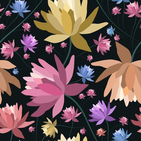 patten: Floral patten with lotus flowers.Seamless  textile print.Colorful textile texture Illustration