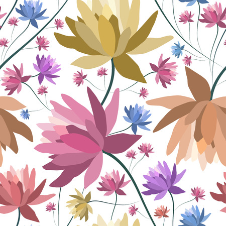 patten: Floral patten with lotus flowers.Seamless textile print.Colorful textile texture