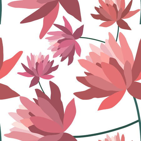 textile texture: Floral patten with lotus flowers.Seamless  textile print.Colorful textile texture Illustration