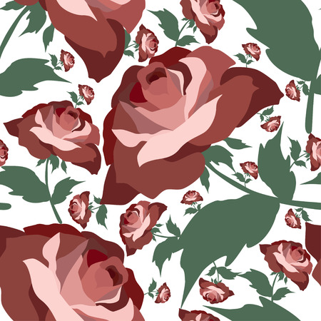 textile texture: Pattern with rose flowers.Seamless vector floral print.Colorful textile texture