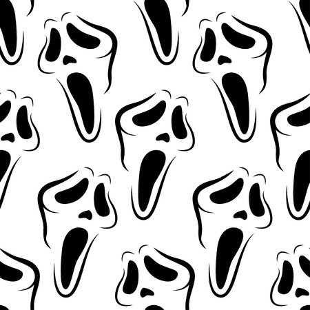 Halloween seamless pattern with monochrome scary masks.Black and white background.Textile texture Illustration