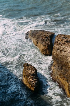 The waves beat against the rocks. Adriatic Sea. Montenegro