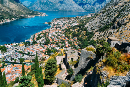 View from top of the hill down to the fortress, the town and the bay of Kotor