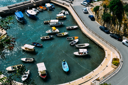 Ulcinj, Montenegro. Ulcinj Bay, seen from above. A small harbor with many boats.