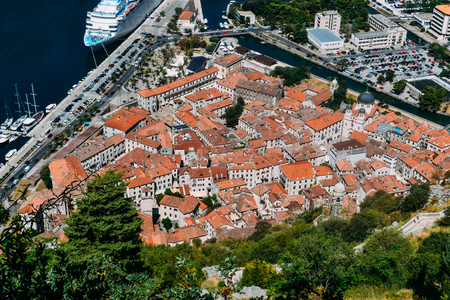 Aerial View of the Orange Color Tiled Roofs of Kotor Old City, Kotor Bay of Montenegro