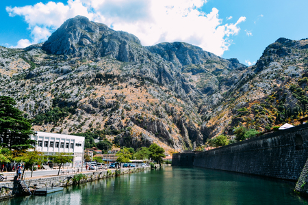 Montenegro, ancient fortress of Old Town of Kotor . View of northern walls, Skurda river and Riva Bastion