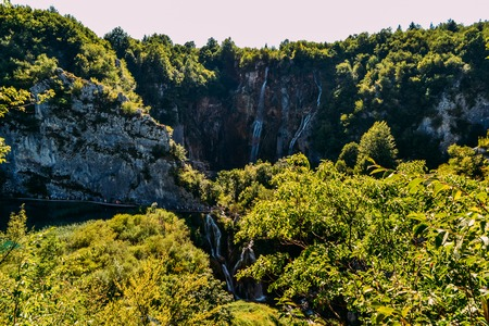 View of the most famous waterfalls in Plitvice national park, Croatia