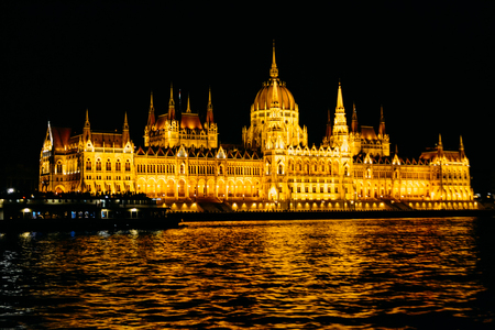 The Hungarian Parliament Building National Assembly of Hungary night shoot from the Buda side - Famous tourist attraction of Hungary by the river Danube Standard-Bild
