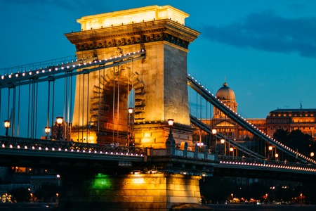 The main bridge of Budapest in the evening. Hungary