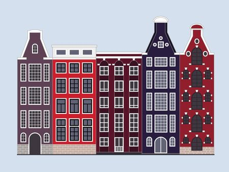 Traditional Amsterdam dutch style houses, European architecture, old town. Vector illustration design template