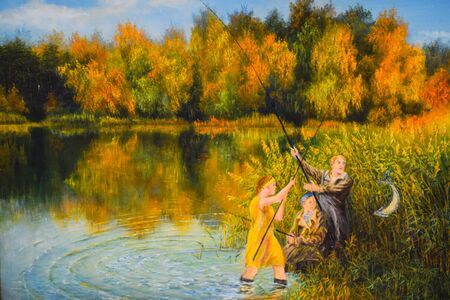family fishing on the pond, painting on canvas