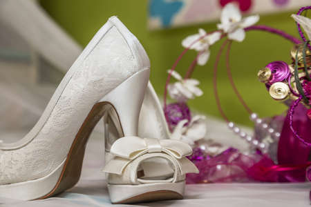 shoes and accessories are a bride before her wedding Stock Photo - 18451655