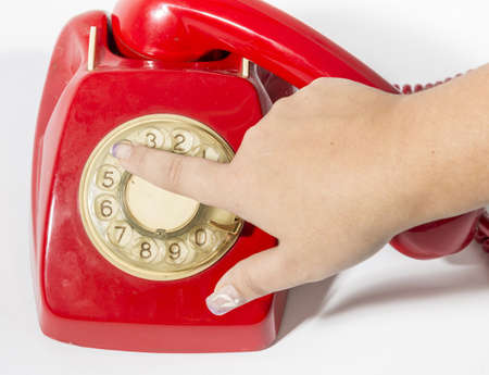 is a hand making a call a hotline old Stock Photo - 18453553