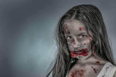 ghost face: is a zombie girl dressed in a nightgown