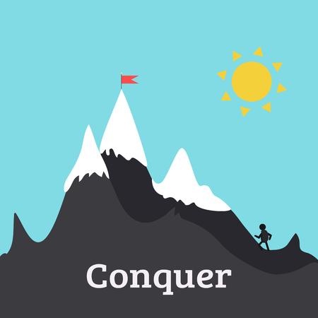 illustrations. L'homme monte la colline sur le chemin de son but. Ciel bleu et soleil en arrière-plan