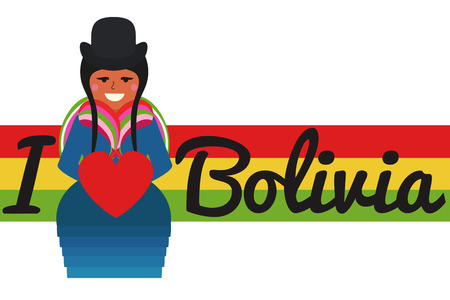 bolivian woman with flag of bolivia