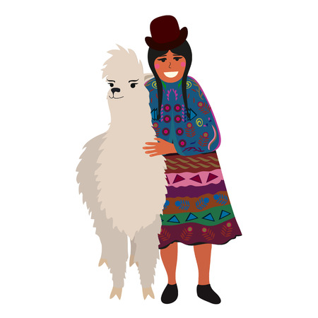 illustration of a woman with funny alpaca