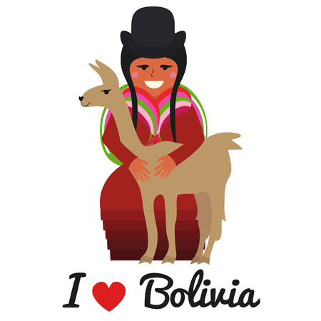 illustration of bolivian woman with cute lama