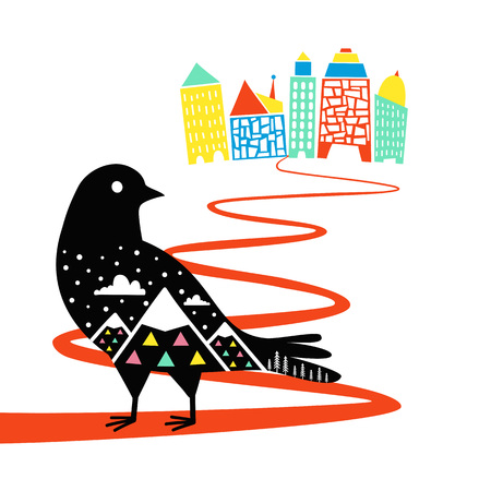 Vector illustration with pigeon bird with mountain landscape watching to the colored city Ilustração