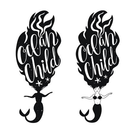 Vector set illustration with mermaids and lettering text - Ocean Child. Typographic poster designs