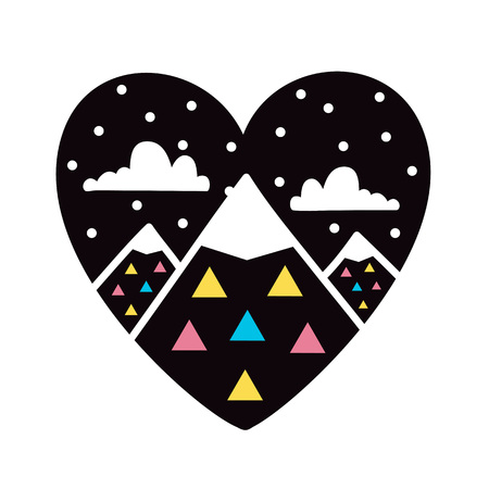 Vector illustration with black heart, stars, white clouds, mountains and colored triangles Çizim