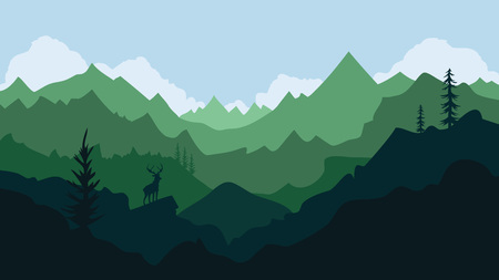 Vector mountain landscape with deer silhouette, pine trees, blue sky and clouds  イラスト・ベクター素材