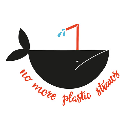 Vector illistration with a whale with plastic straw Banco de Imagens - 122681737