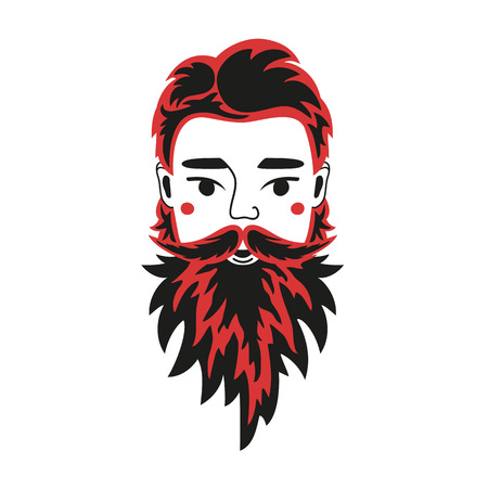 Vector illustration with man head. Black and red beard looks like flame