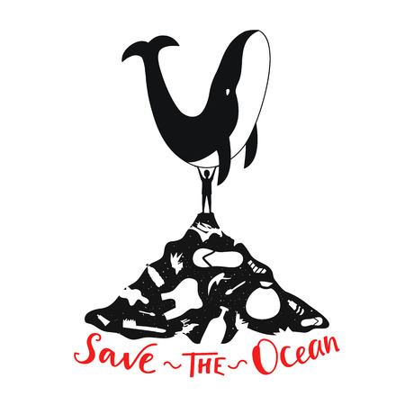 Ecological typography motivational poster - Save the Ocean lettering quote