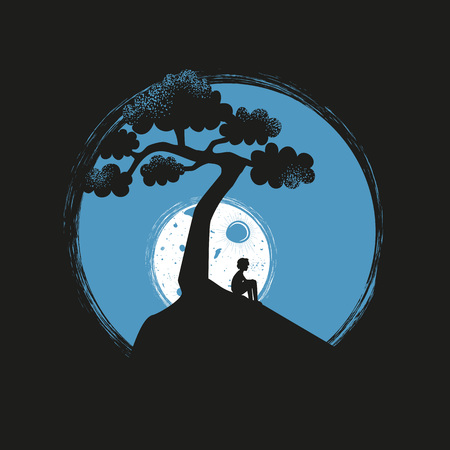 Vector illustration with lonely young man silhouette sitting on the hill, white moon, blue sky and black tree