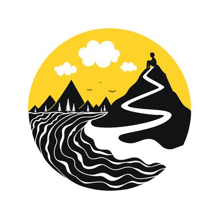 Black, white and yellow print design Ilustração