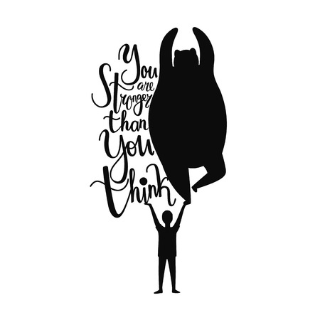 Inspirational typography poster with human and wild animal