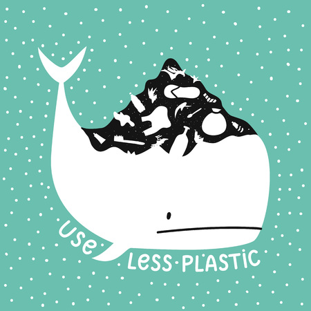 Vector illustration with white whale and big hill of garbage on it. Use less plastic lettering quote
